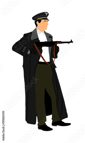 Nazi Germany soldier with rifle vector illustration  SS