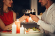 canvas print picture - Cropped photo of lovers having romantic dinner at home