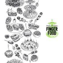 Beautiful Vector Hand Drawn Finger Foods Illustration.