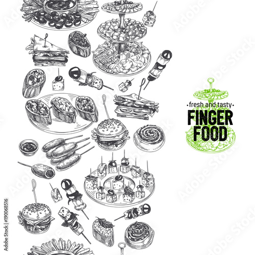 Stampa su Tela Beautiful vector hand drawn finger foods Illustration.