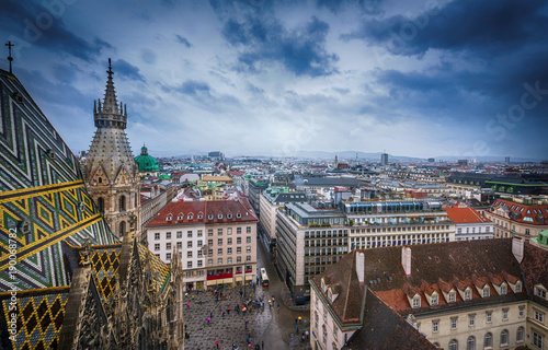 plakat View of Vienna from Saint Stephane's cathedral, Austria