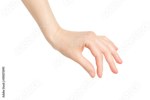 Closeup female hand making picking gesture isolated at white background Fototapete
