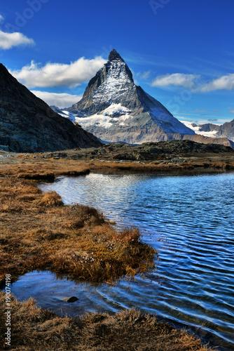 Poster Reflexion Mt Matterhorn reflected in Riffelsee Lake Zermatt Canton of Valais