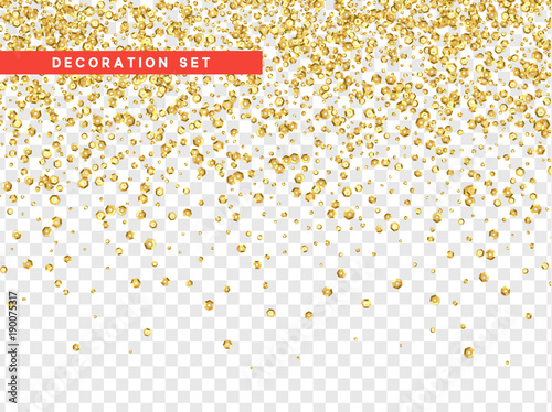 Gold sequins texture isolated with transparent background. Poster Mural XXL