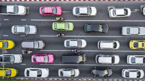 Fotografie, Obraz Aerial drone photograph of traffic jam in metropolis city.