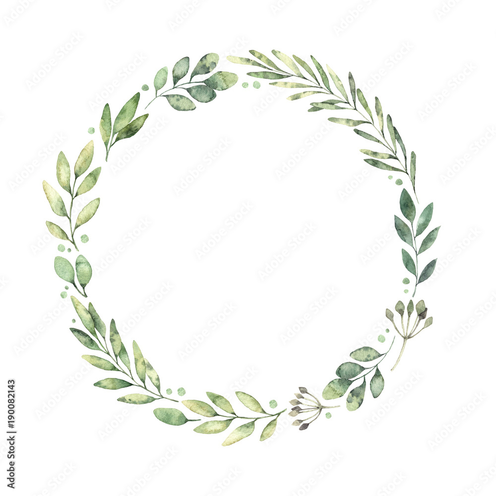 Fototapety, obrazy: Hand drawn watercolor illustration. Botanical wreath of green branches and leaves. Spring mood. Floral Design elements. Perfect for invitations, greeting cards, prints, posters, packing etc