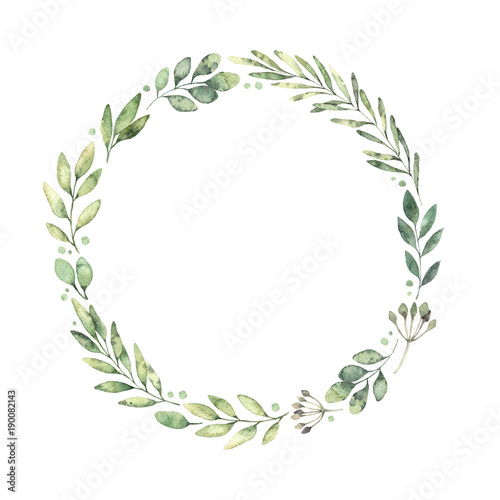 Hand drawn watercolor illustration. Botanical wreath of green branches and leaves. Spring mood. Floral Design elements. Perfect for invitations, greeting cards, prints, posters, packing etc