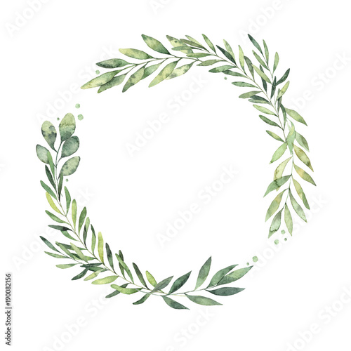 Hand drawn watercolor illustration. Botanical wreath of green branches and leaves. Spring mood. Floral Design elements. Perfect for invitations, greeting cards, prints, posters, packing etc Fototapete