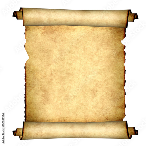 Obraz Old parchment. Isolated on white background - fototapety do salonu