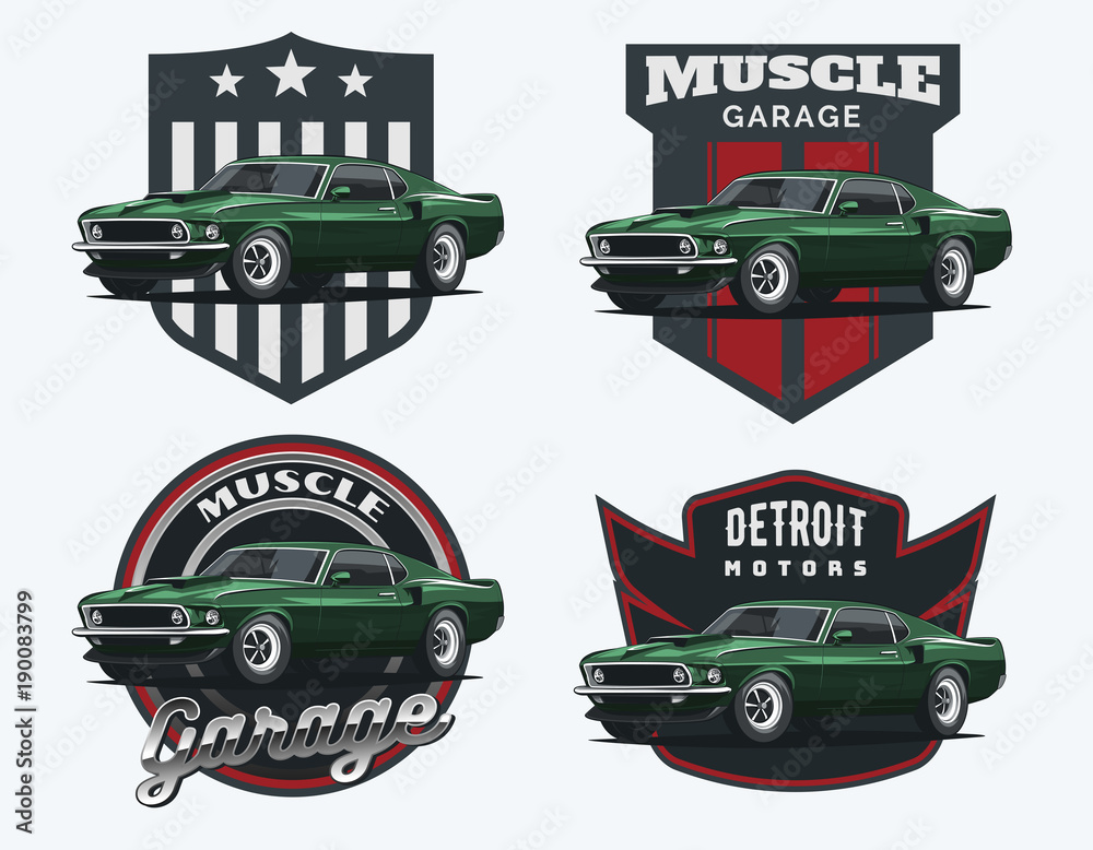 Fototapety, obrazy: Set of classic muscle car emblems and badges.