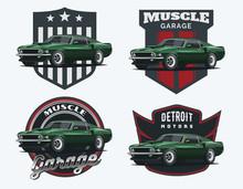Set Of Classic Muscle Car Embl...