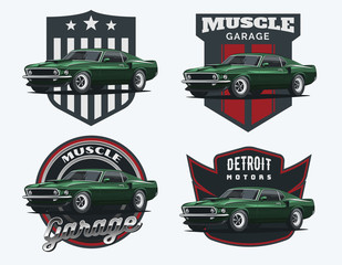 Set of classic muscle car emblems and badges.