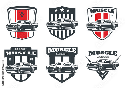 Set Of Classic Muscle Car Emblems And Badges Isolated On White