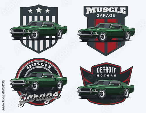 Photo  Set of classic muscle car emblems and badges.