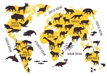 Cartoon World Map With Animals...
