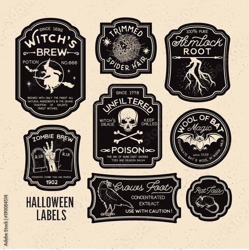 Slika na platnu Halloween Bottle Labels Potion Labels.