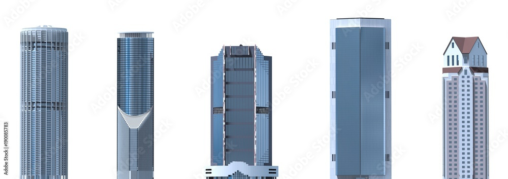Fototapety, obrazy: Skyscrapers 3D Illustration isolated on white background