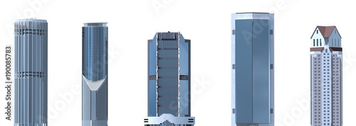 Fotografía  Skyscrapers 3D Illustration isolated on white background