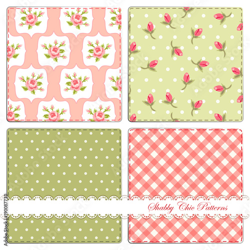 Fotografie, Obraz  Set of four cute retro patterns in shabby chic style