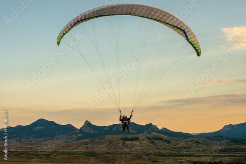 Poster Aerien paragliding and beauty landscape