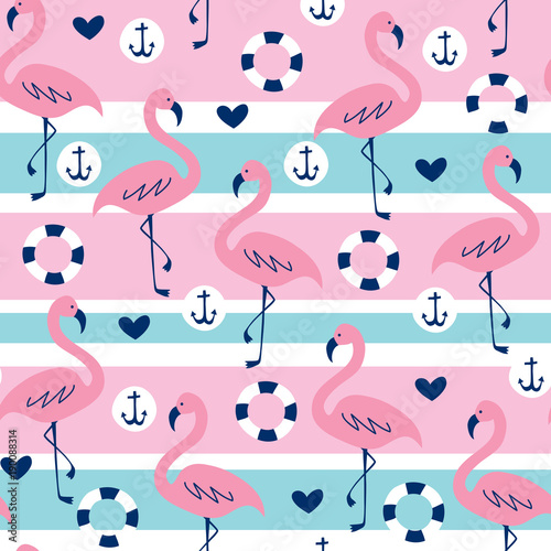 bezszwowe-pasiasty-flamingo-wzor-ilustracji-wektorowych