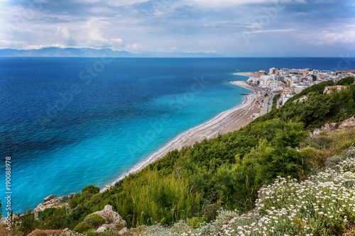 View on Rhodes city with sandy beach. Rhodes island, Dodekanes, Greece