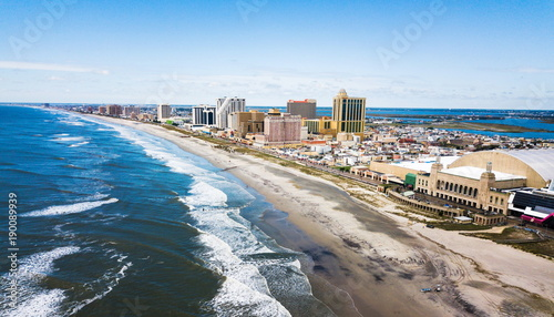 Poster Verenigde Staten Atlantic city waterline aerial