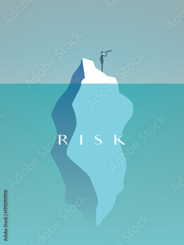 Obraz na płótnie Business risk vector concept with businessman on iceberg in sea