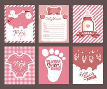 Collection Of Pink Girl Baby Shower Invitation Greeting Cards