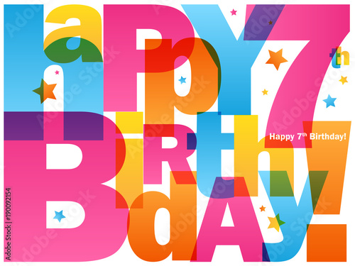 Happy 7th Birthday Card Buy This Stock Vector And Explore Similar