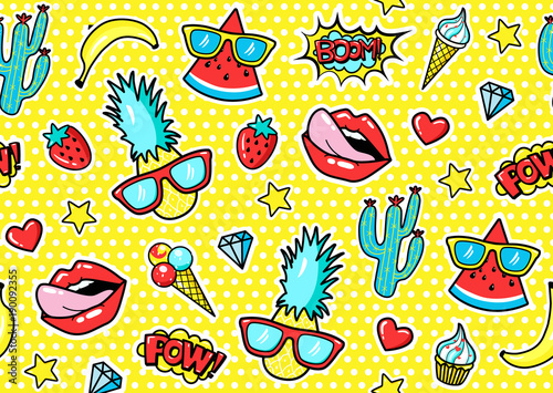 Poster Artificiel Seamless pattern with fashion patch badges with pineapple, lips, hearts, speech bubbles. Vector illustration in cartoon 80s-90s style..