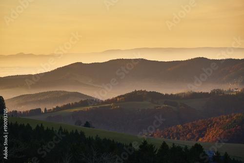 Fotografie, Obraz  Panorama Vogesen Rheintal Schwarzwald