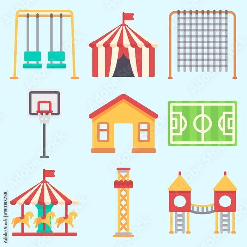 Poster de jardin Oiseaux en cage Icons set about Amusement Park with soccer field, playground, horse carousel, climb , flambards experience and swings