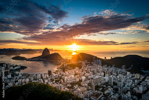 Beautiful colorful sunrise of Rio de Janeiro, as seen from Dona Marta observation point