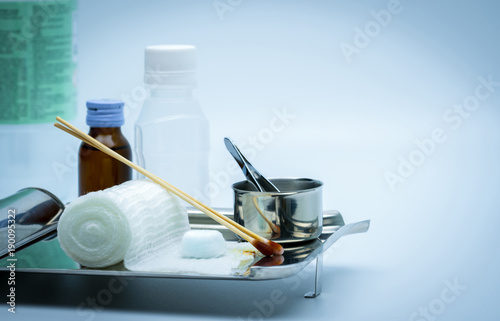Photo Wound care dressing set on stainless steel plate