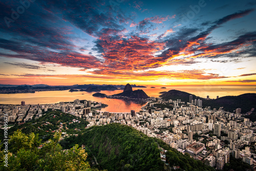 Rio de Janeiro View by Sunrise with Dramatic Sky and the Sugarloaf Mountain