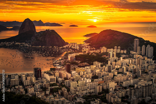 Canvas Prints Rio de Janeiro Beautiful Warm Sunrise in Rio de Janeiro With the Sugarloaf Mountain Silhouette