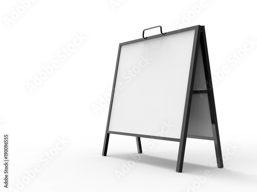 Blank white square A frame metallic outdoor advertising stand mockup ...