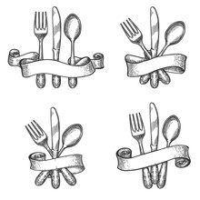 Cutlery Sketch. Vintage Dinner...