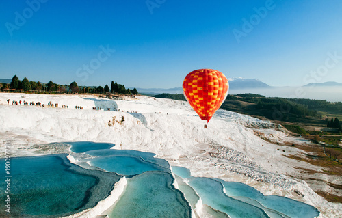 Recess Fitting Balloon Hot air balloon flying over Travertine pools limestone terraces in Pamukkale, Denizili, Turkey