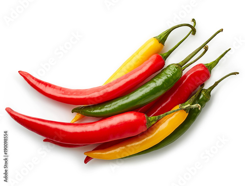 Photo  Heap of colorful chili peppers