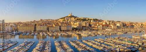 Marseille harbour port panorama city skyline, Marseille, France Wallpaper Mural