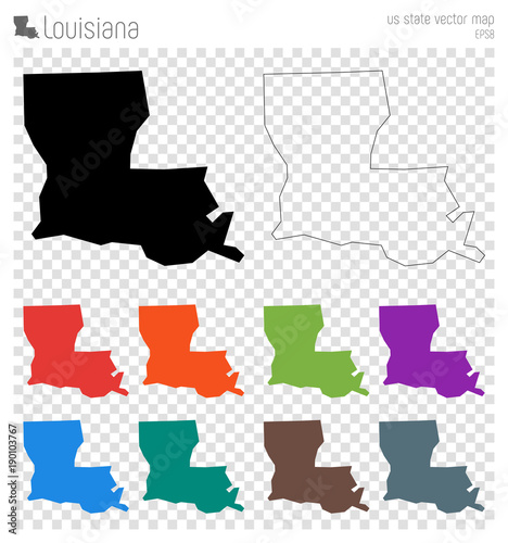 Louisiana high detailed map Wallpaper Mural