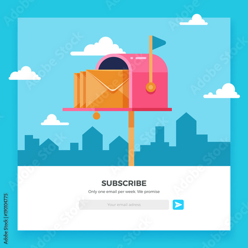 Fototapeta Email subscribe, online newsletter vector template with mailbox and submit button obraz
