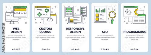 Fotografía  Vector modern thin line web design concept banner set