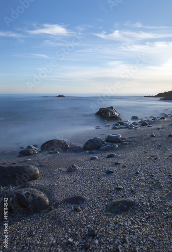 In de dag Schildpad The coast of Oropesa del Mar at a sunrise
