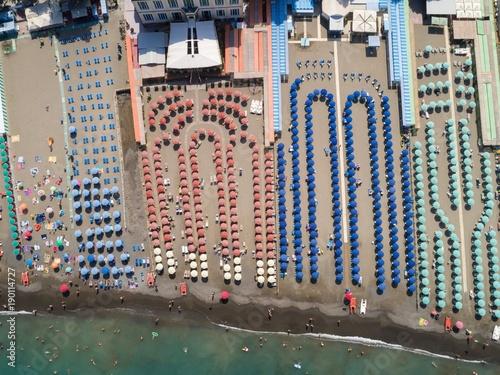 Multi colored beach umbrellas at the coast