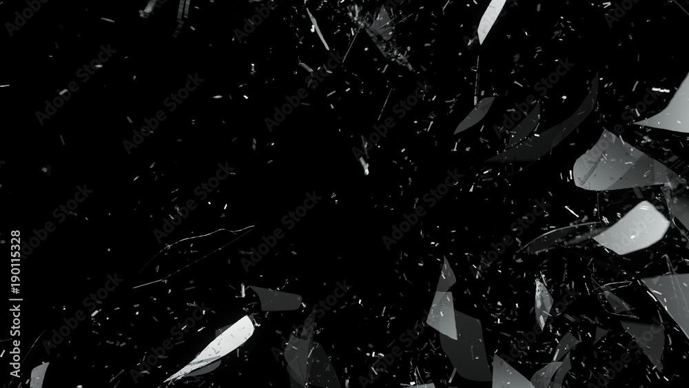Fototapeta Destructed glass on black background