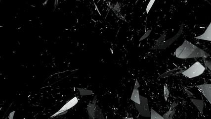 Destructed glass on black background