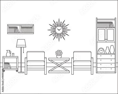Room interior outline sketch  Retro living room in flat design